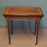 Elegant Maple & Co Quality Edwardian Mahogany Inlaid Antique Card / Games Table