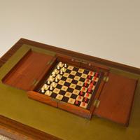 Rare Victorian Mahogany Travelling Chess Set