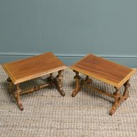 Unusual Pair of Small Victorian Walnut Antique Coffee Tables