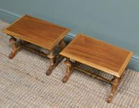Unusual Pair of Small Victorian Walnut Antique Coffee Tables (3 of 6)