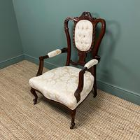 Elegant Victorian Upholstered Antique Arm Chair (2 of 7)