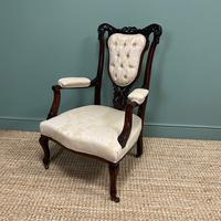 Elegant 19th Century Upholstered Antique Armchair (6 of 8)