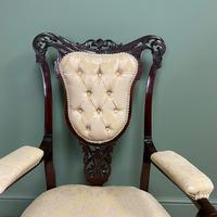Elegant 19th Century Upholstered Antique Armchair (4 of 8)