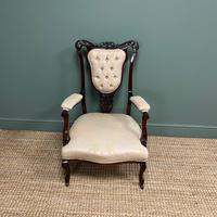 Elegant 19th Century Upholstered Antique Armchair (2 of 8)