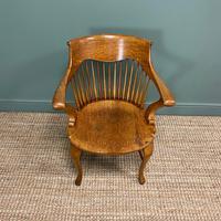 Large Victorian Golden Oak Antique Desk Chair (8 of 8)