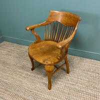 Large Victorian Golden Oak Antique Desk Chair (7 of 8)
