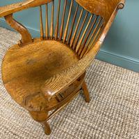 Large Victorian Golden Oak Antique Desk Chair (6 of 8)