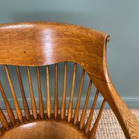 Large Victorian Golden Oak Antique Desk Chair (5 of 8)