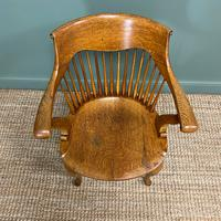 Large Victorian Golden Oak Antique Desk Chair (4 of 8)