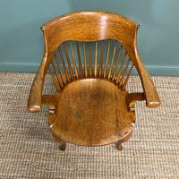 Large Victorian Golden Oak Antique Desk Chair (2 of 8)