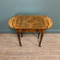 Remarkable Figured Walnut Small Drop Leaf Antique Victorian Side Table / Sofa Table (9 of 9)