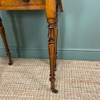 Remarkable Figured Walnut Small Drop Leaf Antique Victorian Side Table / Sofa Table (3 of 9)
