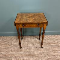Remarkable Figured Walnut Small Drop Leaf Antique Victorian Side Table / Sofa Table (2 of 9)
