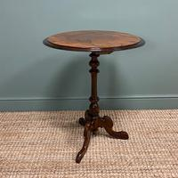 Beautifully Figured Victorian Walnut Antique Occasional Table (4 of 7)
