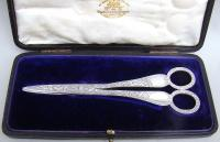 Cased Pair of Victorian Silver Grape Scissors by Wakely & Wheeler, London 1890