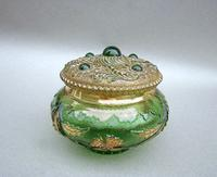 Unusual 19th Century Moser Green & Gilt Glass Dressing Table Jar c.1890 (2 of 7)