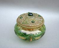 Unusual 19th Century Moser Green & Gilt Glass Dressing Table Jar c.1890 (3 of 7)