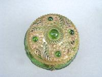 Unusual 19th Century Moser Green & Gilt Glass Dressing Table Jar c.1890 (4 of 7)