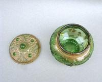 Unusual 19th Century Moser Green & Gilt Glass Dressing Table Jar c.1890 (5 of 7)