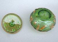 Unusual 19th Century Moser Green & Gilt Glass Dressing Table Jar c.1890 (6 of 7)
