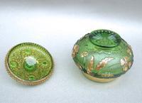 Unusual 19th Century Moser Green & Gilt Glass Dressing Table Jar c.1890 (7 of 7)