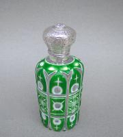 Victorian Silver & Bohemian Triple Cased Overlay Green Glass Scent Bottle c.1890 (2 of 7)