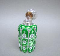Victorian Silver & Bohemian Triple Cased Overlay Green Glass Scent Bottle c.1890 (4 of 7)