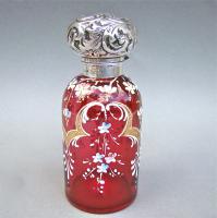 Silver Mounted Enamelled Cranberry Glass Scent Bottle/Cologne Bottle, Birmingham 1902