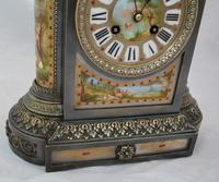Silvered Bronze Porcelain Panelled Mantle Clock (2 of 6)