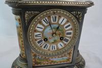 Silvered Bronze Porcelain Panelled Mantle Clock (3 of 6)