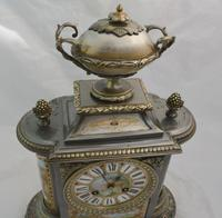 Silvered Bronze Porcelain Panelled Mantle Clock (6 of 6)