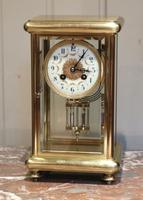 French Brass Four Glass Clock with Ornate Dial C.1905