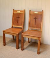 Pair of Solid Oak Church Chairs