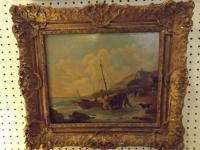 19th Century William Shayer Marine Oil on Panel Signed