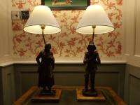 Hand Carved Breton Table Lamps Wooden Peasant Figures