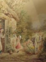 After Birket Foster Old Lady & Children by Cottage Door (3 of 8)