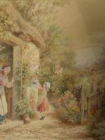 After Birket Foster Old Lady & Children by Cottage Door (8 of 8)