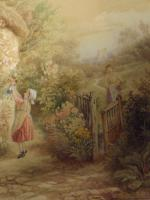 After Birket Foster Old Lady & Children by Cottage Door (7 of 8)