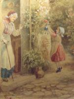 After Birket Foster Old Lady & Children by Cottage Door (4 of 8)