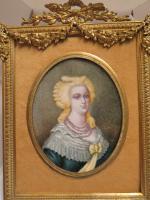 Miniature Portrait 8 1/4' Ormolu Frame Marie Antoinette