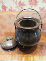 19th Century Wooden Vesta Match Holder Cauldron Shape