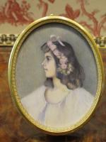 Miniature Portrait Young Lady Art Nouveau Avril 1902