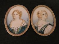 Pair of Miniature Portraits Court of Louis XVI Hand Painted