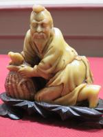 Chinese Soap Stone Carving Fisherman signed to the base