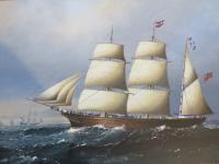 Large Marine Painting by Michael Matthews Miranda Clipper Ship (2 of 6)