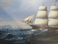 Large Marine Painting by Michael Matthews Miranda Clipper Ship (3 of 6)