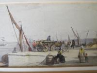 Busy Port Marine Scene Watercolour c.1780 (4 of 6)