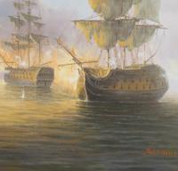 James Hardy Large Sea Battle Oil on Board (3 of 5)
