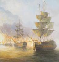James Hardy Large Sea Battle Oil on Board (4 of 5)
