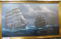 Large 4 Foot Plus Marine Painting Tea Clippers RAcing 20th Century (5 of 6)